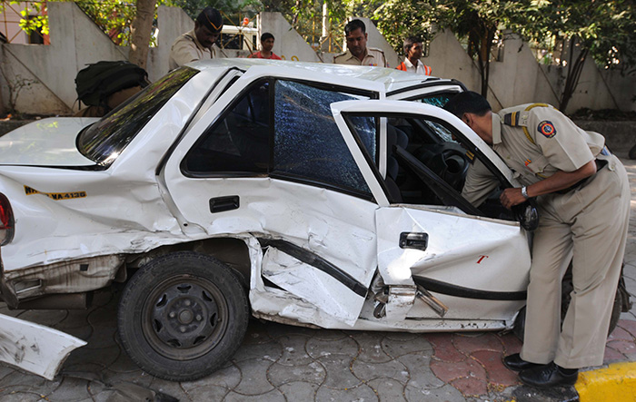 Police Check Car After accident