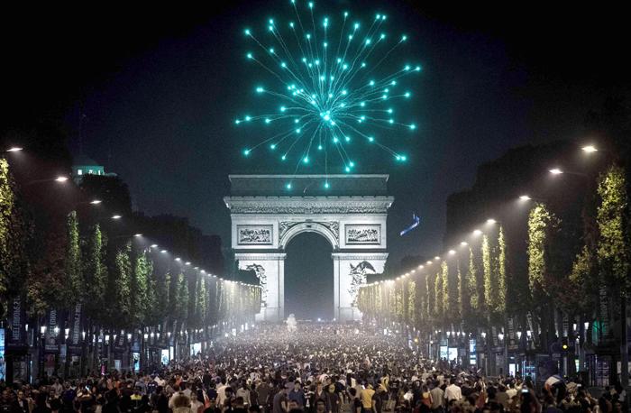 French public celebrates in Paris