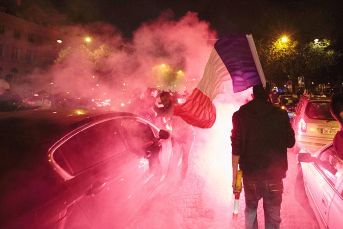 French public celebrates with smoky flares