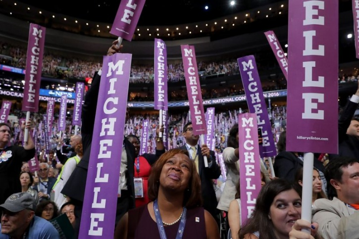 Crowd cheering for Michelle Obama at DNC