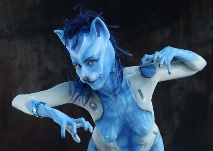 woman poses as cat at world body painting festival austria