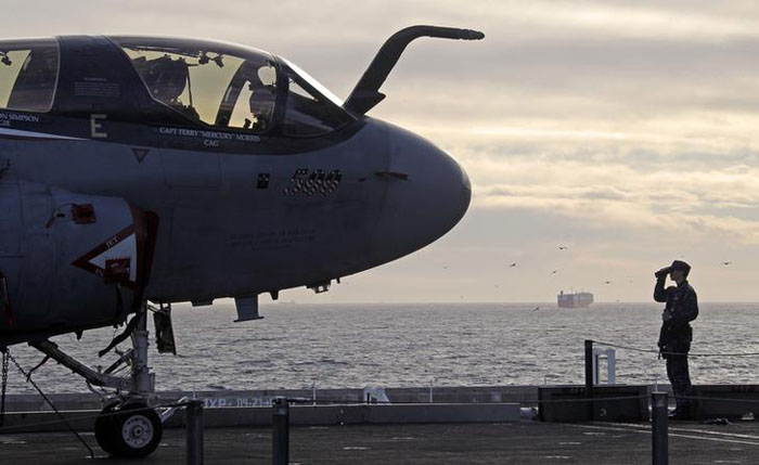 Warplanes Take Off To Fight ISIS From This Ship. It Has Starbucks, Salons