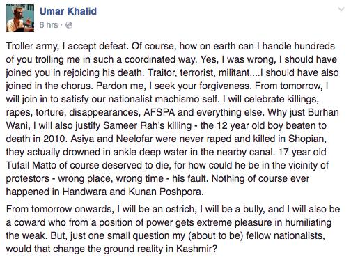 Umar Khalid Backs Burhan Wani