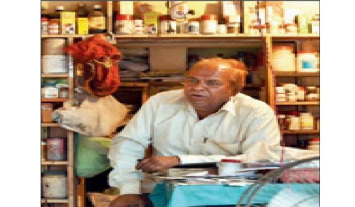 Shyam Sundar Sharma at his shop at Achal Tal