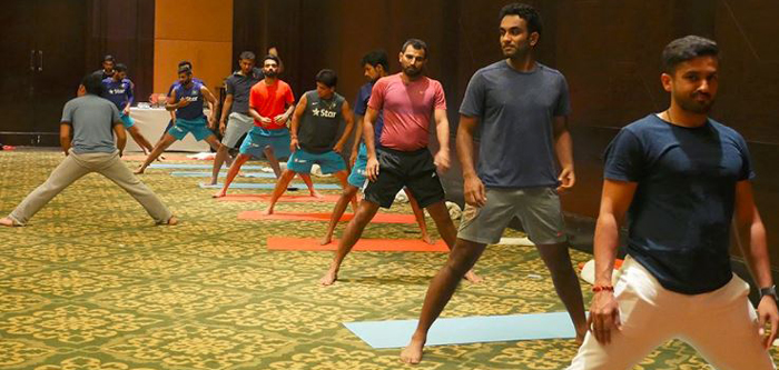 Yoga done by Team India players