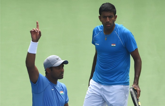 Rohan Bopanna with Leander Paes