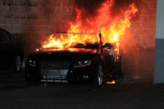 Audi Burns To Ashes In Delhi
