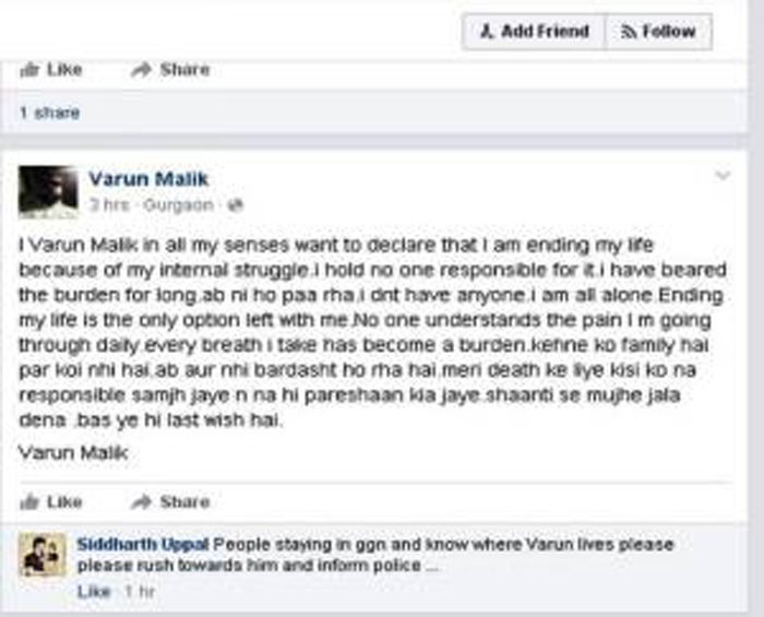 IT Employee Posts Photo Of Suicide Attempt On Facebook, His Friends Rush Him To Hospital Just In Time