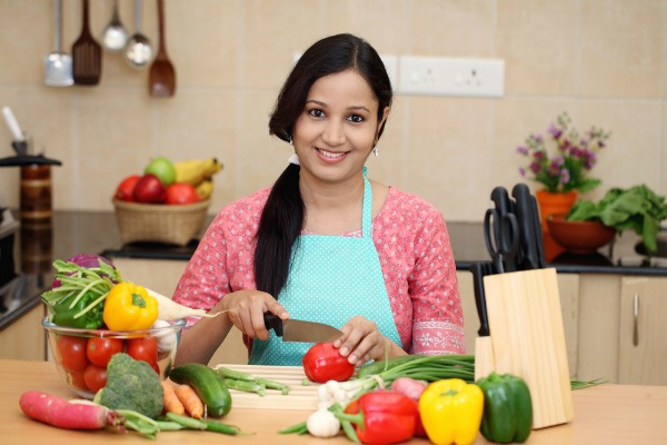 indian girl cooking
