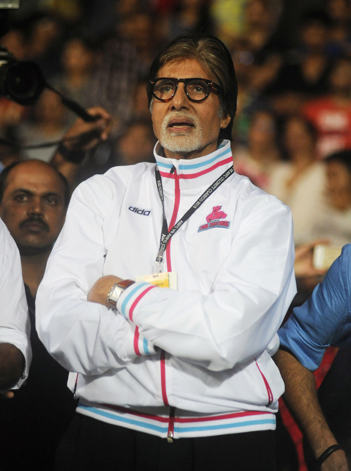 Big B watches the game