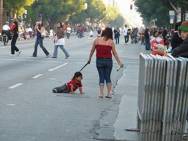 children on leash