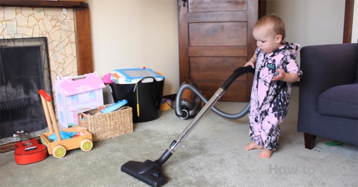 How to get a baby to clean the house.