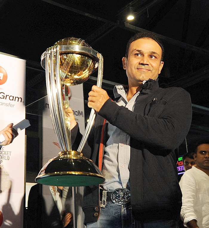 Sehwag with trophy