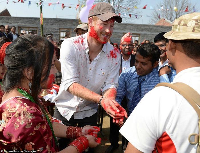 Prince Harry playing Holi in Nepal