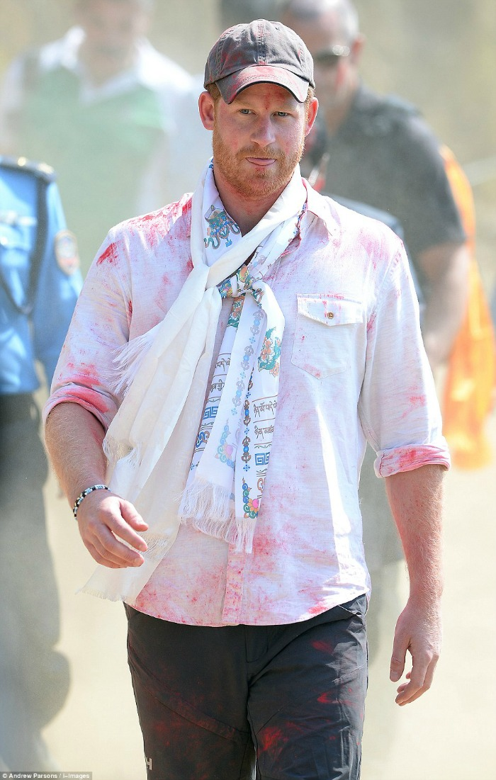 Prince Harry playing Holi