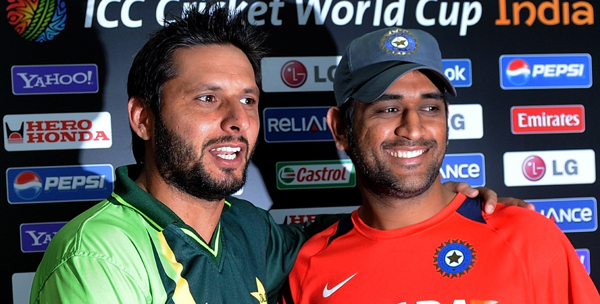 Afridi with Dhoni
