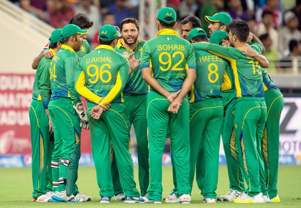 Shahid Afridi with the Pakistan team