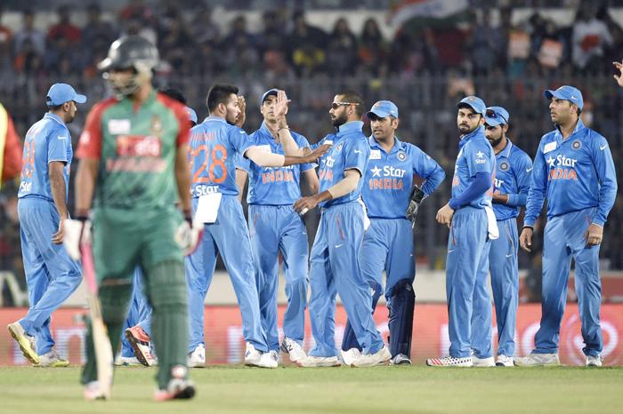 India team celebrates win over Bangladesh