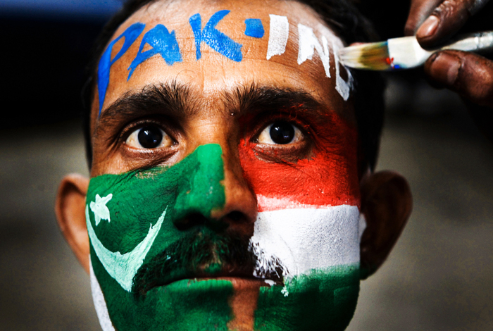A cricket fan showing his support to India and Pakistan