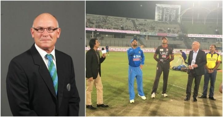 Jeff Crowe officiating India vs UAE match