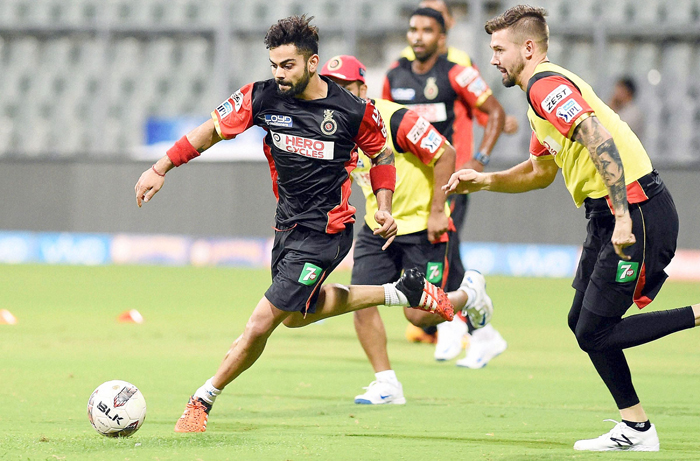 Cricketers Play Football In Practice