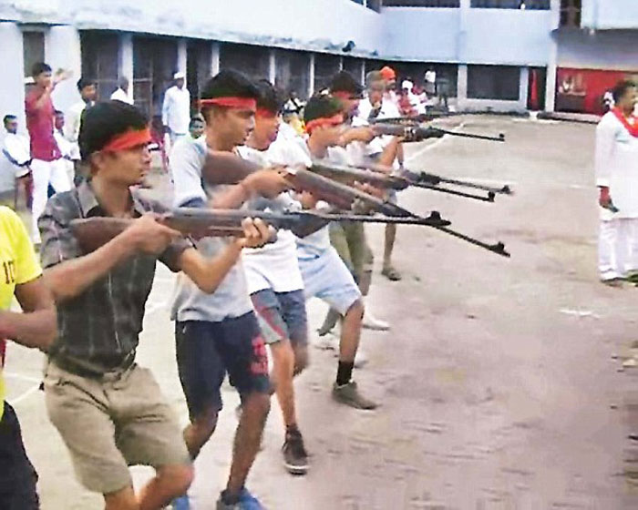 Bajrang Dal Is Teaching Boys To Jump Through Fire And Use Weapons To