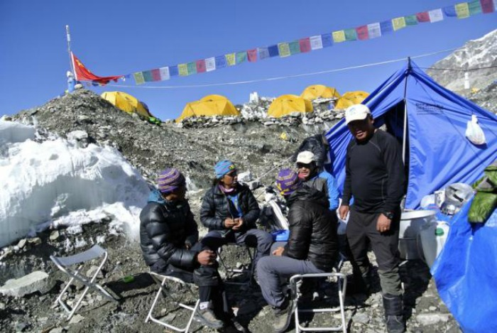 Sherpas at base camp in 2014