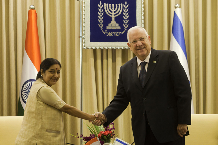 sraeli President Reuven Rivlin meets with Indian Foreign Minister Sushma Swaraj