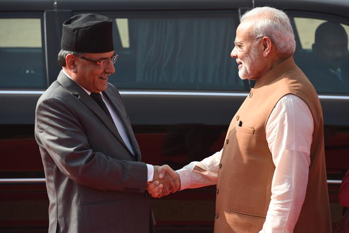 Prime Minister Narendra Modi with Nepal Prime Minister Pushpa Kamal Dahal
