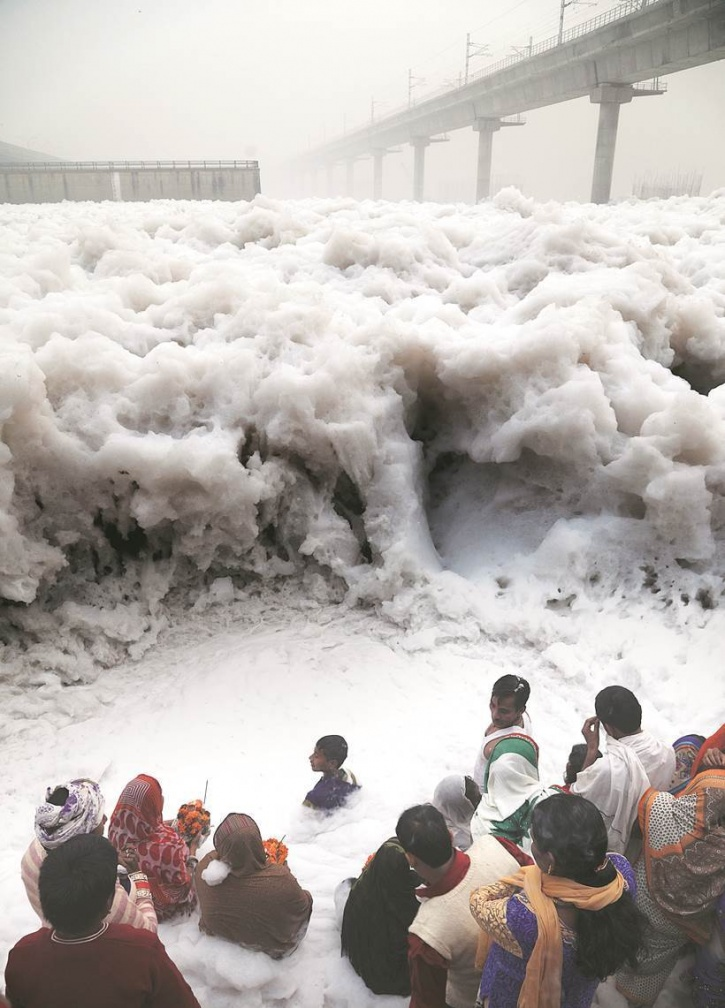 chhat puja Water  pollution Indian Express