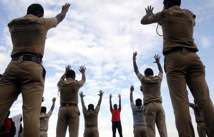Police Doing Yoga