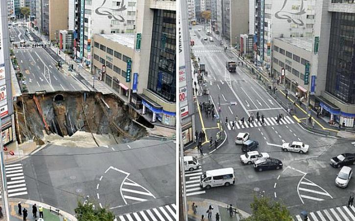 city sinkhole japan 2016