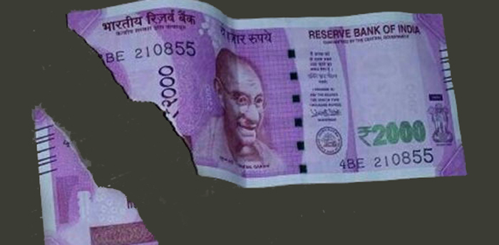 Damaged Rs 2000 Note