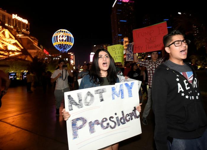 People protest against Trump