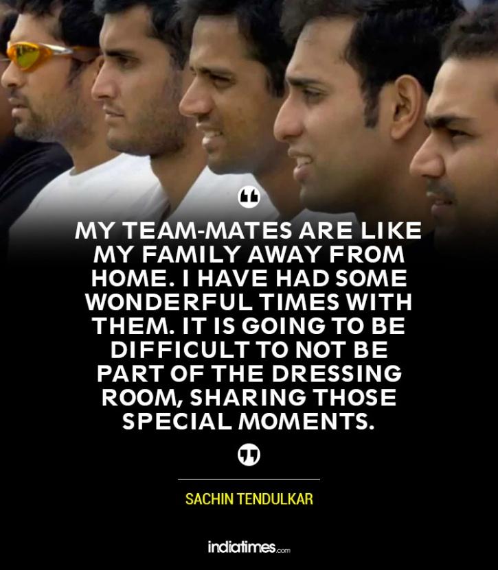 Sachin with his teammates
