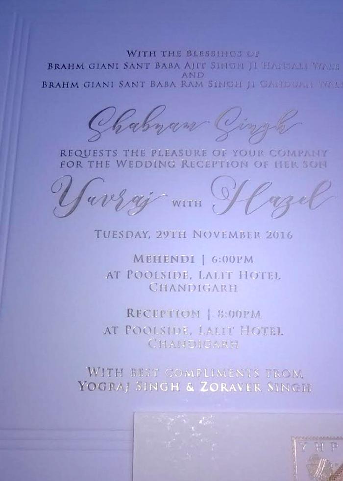 Yuvraj wedding card