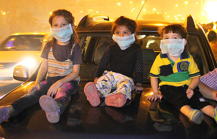 Kid with Pollution Mask