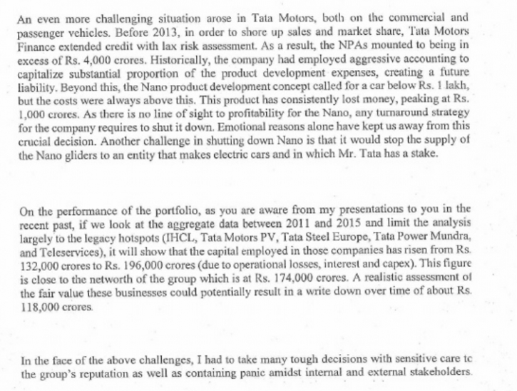 Cyrus Mistry letter