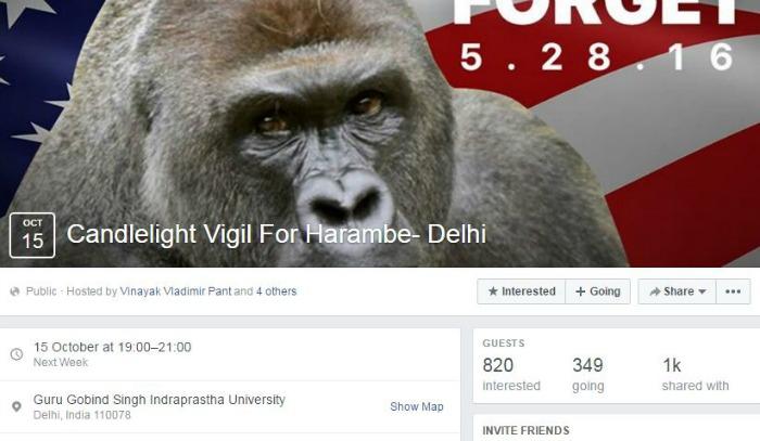 Harambe Delhi vigil