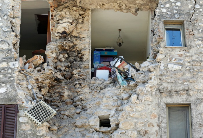 Collapsed wall of a house, Italy earthquake