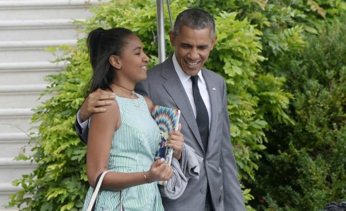 Sasha and Barack Obama