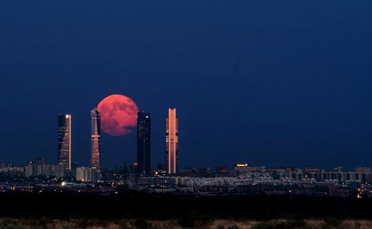A moon sky in Madrid, Spain
