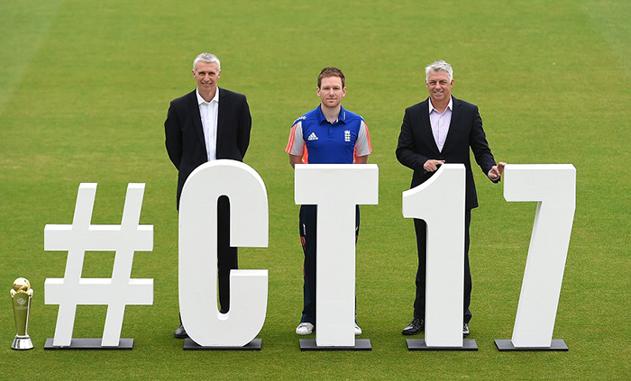 Steve Elworthy, Eoin Morgan, and David Richardson during the Champions Trophy 2017 launch