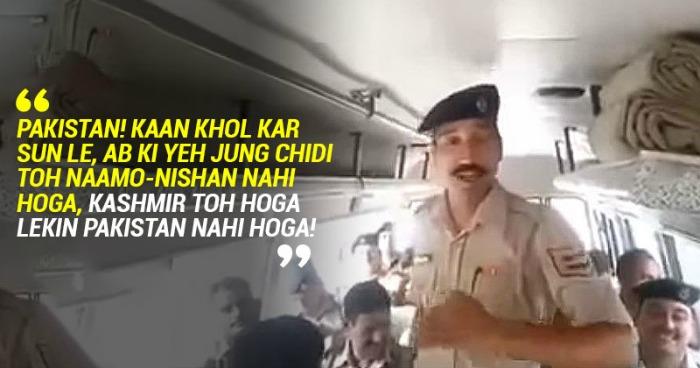 Indian soldier slamming Pakistan