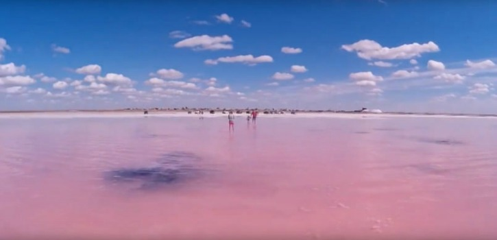 Lake Burlinskoye in Siberia turns pink every summer between August and Otcober