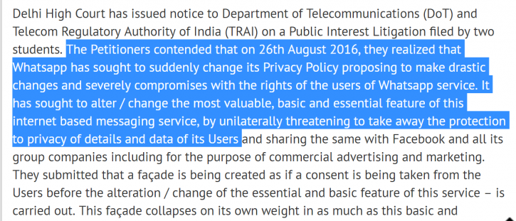 Legal court petition facebook whatsapp privacy