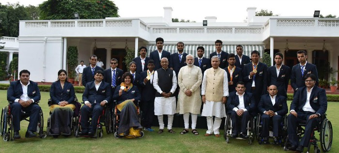 Paralympians with Modi