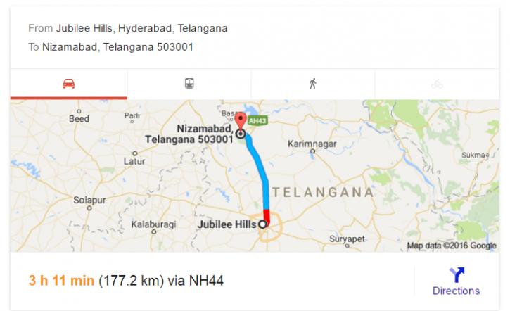 Distance via Google map