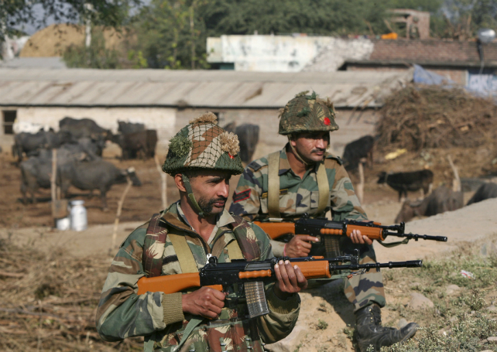 Indian army soldiers wearing helmets