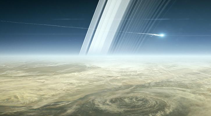 An illustration of Cassini breaking up over Saturn - NASA/JPL